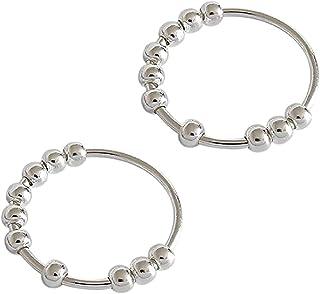 ZJXJ Fidget Anxiety pierścionek z koralikami, spinner fidget, srebro wysokiej próby, prosty pierścionek damski