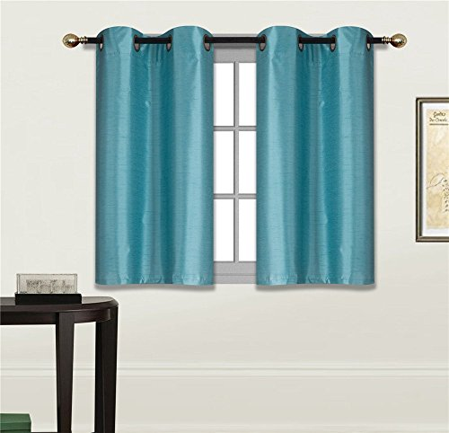 """Elegant Home 2 Panels Tiers Grommets Small Window Treatment Curtain Faux Silk Semi Sheer Drape Short Panel 28"""" W X 36"""" L Each for Kitchen Bathroom or Any Small Window # N25 (Teal Blue)"""