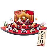 (ファンファン) FUN fun 雛人形 ひな人形 コンパクト 扇面三段わらべ雛十人揃い 名入れ 紅赤