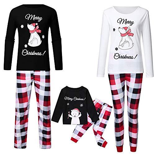 DISCOUNTL Pijamas de Navidad a juego Impreso Manga Larga a Rayas Pijamas de Dos Piezas Padre-Hijo de Navidad Familia Conjunto de Albornoz para Mujer
