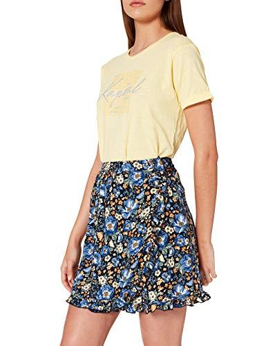 Springfield Falda Pareo Corta Estampada, Azul Medio, L para Mujer