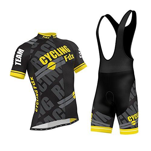 Set da ciclismo professionale con maglia a mezza manica e salopette con pantalone imbottito in gel 3D, di FDX, FDX-1335-2017-H, Yellow, XL