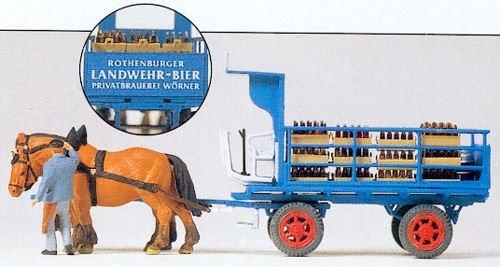 Preiser 1/87th–pr30445–Modelleisenbahnen–Wagon Bier Landwehr-béer + Pferde