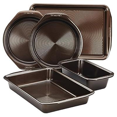 Circulon 46015 Nonstick Bakeware Set with Nonstick Cookie Sheet, Bread Pan, Bakings Pan and Cake Pans - 5 Piece, Chocolate Brown