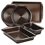 Circulon Nonstick Bakeware Set with Nonstick Cookie Sheet, Bread Pan, Bakings Pan and Cake Pans - 5 Piece, Chocolate Brown