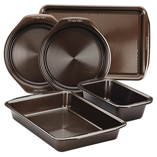 Circulon 46015 Nonstick Bakeware Set with Nonstick Cookie Sheet, Bread Pan, Bakings Pan and Cake Pans - 5 Piece, Chocolate Brown