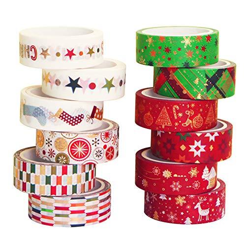 Pumpumly Juego de 12 rollos de cinta Washi, cinta adhesiva decorativa para álbumes de recortes, diarios de balas, manualidades, envoltura de regalos, planificadores (15 mm de ancho)