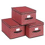 SONGMICS Set de 3 Cajas Plegables con Tapa, Cajas Plegables con Etiquetas para Navidad, Cajas de...