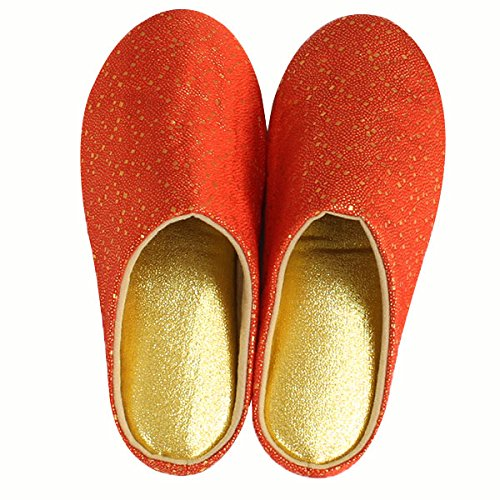 arne スリッパ ルームシューズ M 西陣織 日本製 室内履き 金襴 和柄 橙 金 古代オレンジ ゴールド