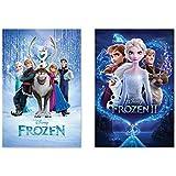 Frozen 1 & Frozen 2 - Disney Movie Poster Set (Regular Styles) (Size: 24 x 36 inches each)