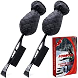 Poboola Ice Scraper Mitt for Car Windshield with Brush, Thick Fleece & Waterproof Snow Remover Glove with Foam Grip, Heavy Duty Frost Shovel Tool for Vehicle SUV Truck Windows, Scratch-Free (2 Pack)
