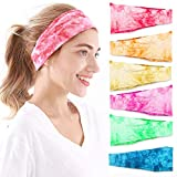 Headbands For Women, 6 PCS Yoga Running Sports Cotton Headbands Tie Dye Elastic Non Slip Sweat Headbands Workout Fashion Hair Bands for Girls