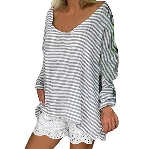 Staresen-Vêtements Femme ❤Femmes Automne Hiver Chaud de Base Manche chauve-souris Col rond Tops rayés Blouses t-Shirts Cardigan Sweat-Shirt Manteau Blouson Tunique Pull Blouse