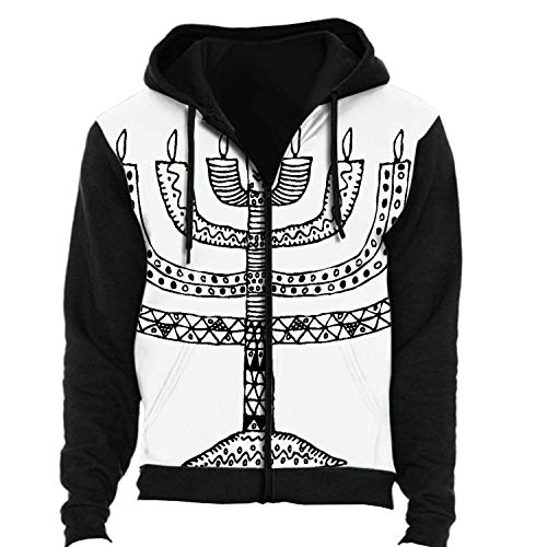 Hanukkah.Holiday.Candle.Doodle,Men's Women's Zip up 3D Fashion Hoodies Sweatshirts Hand Draw Candle