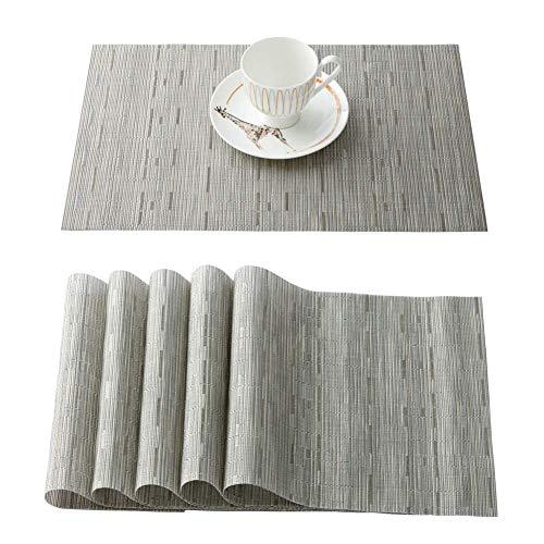 OSVINO Snygg rektangulär mångfärgad bambu flätad fläckbeständig hotell hem kök matbord Runner matta, grå, 6 stycken placemats