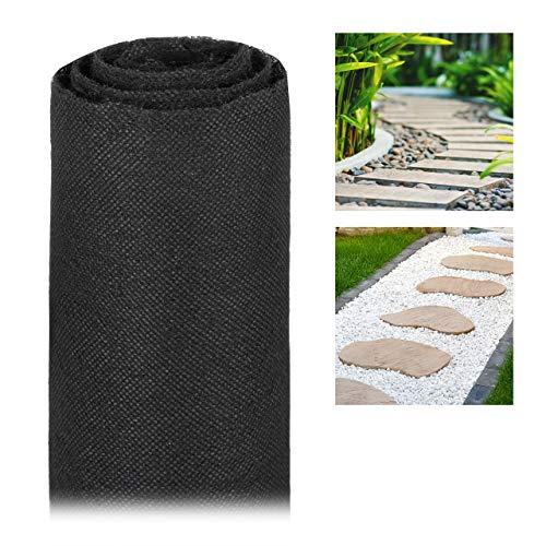 Relaxdays Telo per Pacciamatura, 17g/m², Protezione per Piante, Impermeabile, Anti UV, Antistrappo, 15 m, Nero Metri