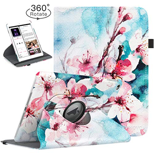 TiMOVO Case for iPad 9.7 2018/2017, iPad Air 2, iPad Air - 360 Degree Rotating Smart Leather Swivel Case with Pencil Holder, Auto Wake/Sleep Fit iPad 5/6th Gen/iPad Air 1/2, Peach Blossom