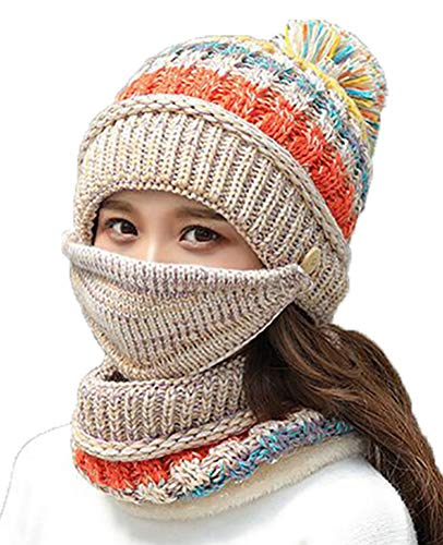 Women Winter Warm Knit Beanie Hat Skully Caps with Pompom Hat Scarf Mask Set Beige