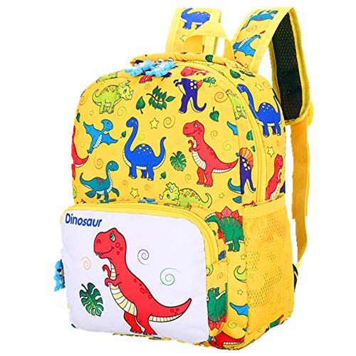 POWOFUN Kids Toddler Preschool Travel Backpack Cute Cartoon Schoolbag Backpack Bookbag(Dinosaur Yellow)
