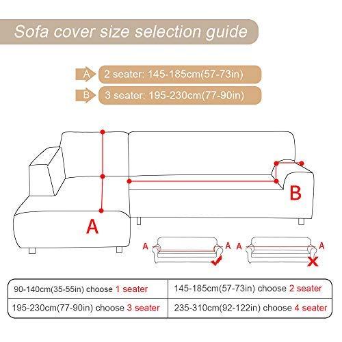 Copridivano con Penisola Elasticizzato Chaise Longue Copridivano Angolare Antimacchia Sofa Cover componibile in Poliestere a Forma di L 2PCS, Federe Protettive per Divano(Geometria,2 Posti+3 Posti)