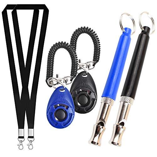 Gresunny Fischietto per Cani ultrasuoni Strumento di addestramento per Cani con clicker Lanyard Strap per smetti di abbaiare Frequencie Regolabile fischietti dallenamento 2 Set