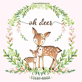 Oh Deer Guest Book: Baby Shower Guestbook for Girl with Advice for Parents + BONUS Gift Tracker Log + Keepsake Pages   Mom and Baby   Doe Fawn Pink Peach Green Floral