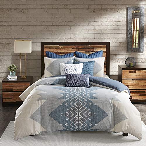 INK+IVY Cotton Duvet-Traditional Ikat Design All Season Comforter Cover Bedding Set with Matching Shams, King/Cal King(104'x92'), Nova Geometric Blue 3 Piece