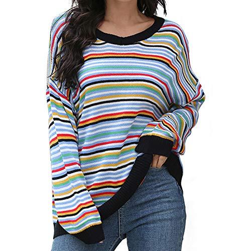 Amandaz Damen Grobstrick Strickpullover V-Ausschnitt Oversize Causal Langarmshirt Sweatshirt Pulli Outwear Mantel