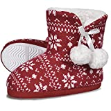 HOMEHOT Toddler Girls Slippers Fuzzy House Bootis Slippers Warm Indoor Anti-Slip Ankle Boots Shoes for Little Kid US 10/11 Red