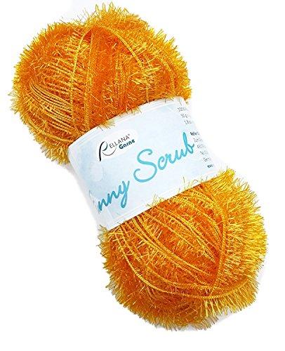 Rellana Funny Scrub Fb. 21 - gelb, tolles Garn zum Schwämme häkeln oder stricken, lustige Spülschwämme häkeln