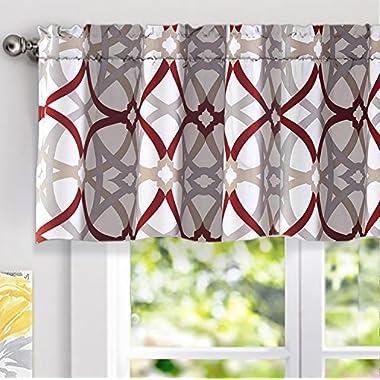 "DriftAway Alexander Spiral Geo Trellis Pattern Window Curtain Valance, Rod Pocket, 52 x18 +2""Header(Red/Gray)"