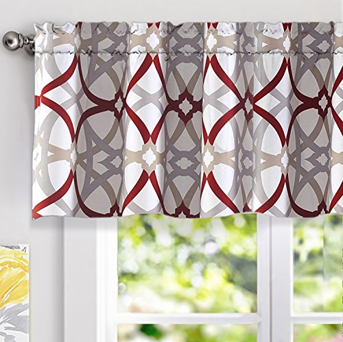 DriftAway Alexander Spiral Geo Trellis Pattern Window Curtain Valance Rod Pocket 52 Inch by 18 Inch Plus 2 Inch Header Red and Gray 1 Pack