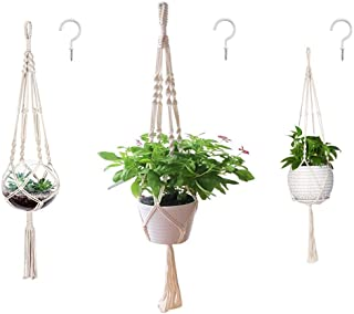AOMGD 3 Pack Macrame Plant Hanger and 3 PCS Hooks Indoor Outdoor Hanging Plant Holder Hanging Planter Stand Flower Pots fo...