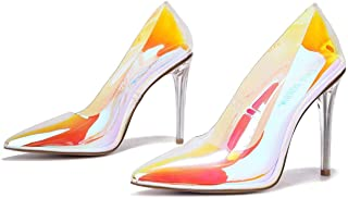 Glass Doll Clear Stiletto High Heels for Women, Slip On Sexy Shoes with Pointed Toe - Iridescent Size