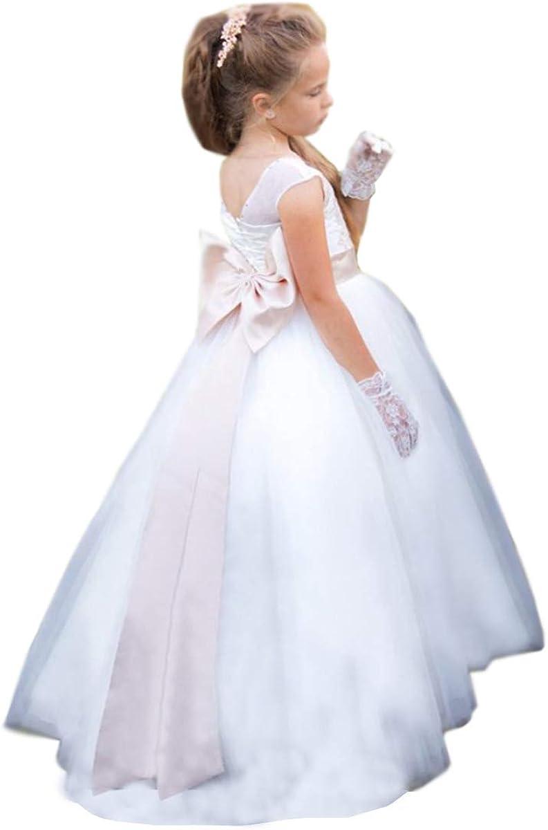 Amazon Com Shenlinqij Long White Little Girl Wedding Dress Formal Party Dresses Kids Wear Clothing