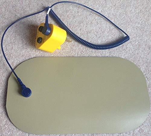 Elimistat UK Antistatische ESD-Schutzmatte, leitfähig, 100 x 180 mm, mit UK-Erdungsstecker, Schwarz