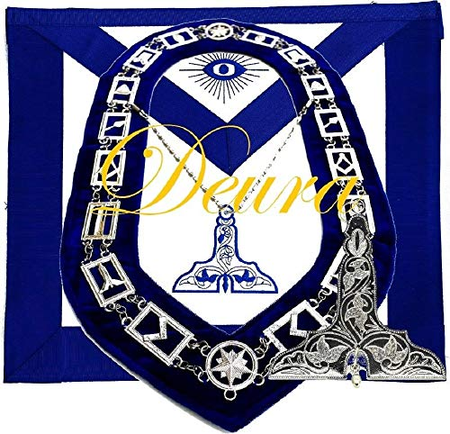 DEURA Masonic Master Mason Senior WARDEN SILVER Jewel Collar and EMBROIDERED Apron SET