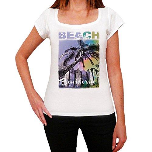 Benidorm, Nombre de la Playa, Palma, La Camiseta de Las Mujeres, Manga Corta, Cuello Redondo, Blanco