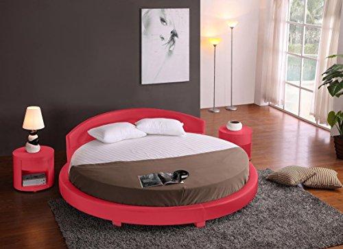 Panda Round Platform Bed 87 Inch Diameter (Red)