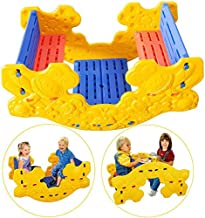 【US Spot】 Kids Seasaw Rocker, 2 in 1 Multifunction Picnic Table Set and Seesaw with Easy-Grip Handles, Indoor Outdoor Teet...