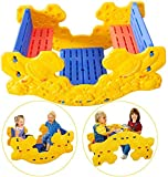 【US Spot】 Kids Seasaw Rocker, 2 in 1 Multifunction Picnic Table Set and Seesaw with Easy-Grip Handles, Indoor Outdoor Teeter Totter Playset, Seesaw Rocking Toy Playground Equipment (Yellow)