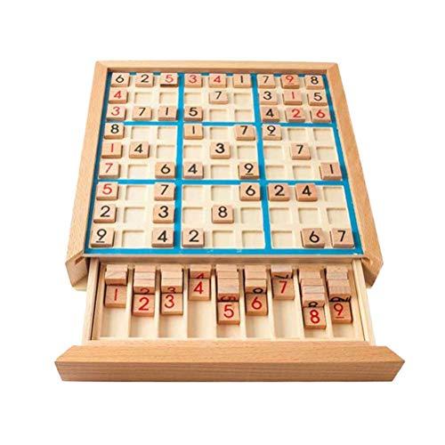 Toyvian Brettspiel Holz Sudoku Puzzle Spiel Logische Entwicklung Trainingsspielzeug Geschenk (Blau)
