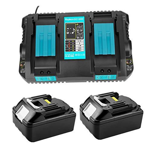 2 baterías de litio BL1850 5 Ah + cargador DC18RD Dual Port 4A 14.4V-18V para Makita BL1850 BL1860B BL1860 BL1840 BL1830 BL1815 LXT-400 DC18RA DC18RC