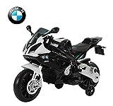 Homcom BMW S1000 RR Moto électrique pour Enfants 2 Moteurs 6 V 2,5-5 Km/h Phare klaxon béquille roulettes Amovibles Noir