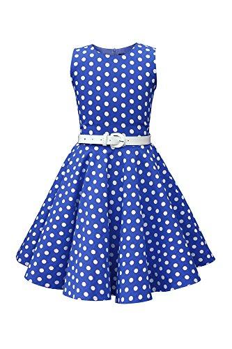 BlackButterfly Kinder 'Audrey' Vintage Polka-Dots Kleid im 50er-J-Stil (Königsblau, 7-8 J / 122-128)