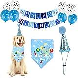 WOHENI Dog Birthday Party Supplies- Dog Birthday Hat and Dog Birthday Bandana Flag Balloon, Collar Cotton Bandana Dog Cat Girl Boy Birthday Outfit for Pet Puppy Cat