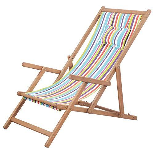 Wakects Tumbona de jardín de madera, plegable, tumbona de relax, silla de playa con 3 posiciones ajustables, silla de playa de tela y marco de madera de eucalipto, multicolor