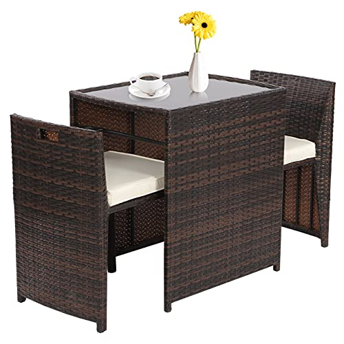 3 PCS Rattan Wicker Furniture Set 2 Seater,PE Rattan Garden Patio Rattan Furniture Bistro Set, Outdoor Seating Garden Chairs Set Of 2 with Coffee Table for Garden Patio Bistro Porch Balcony (brown2)