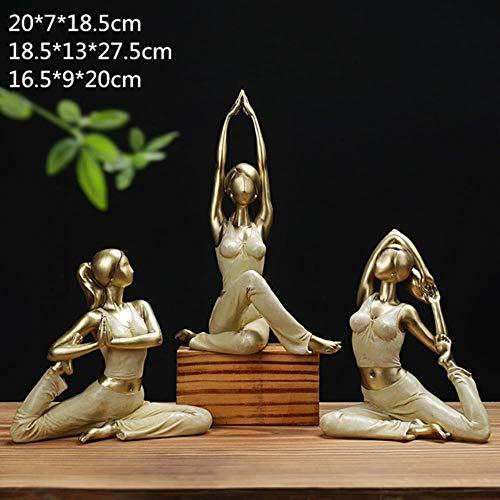 SHUANGBING Skulptur Dekoration Statue 3 Teile/Satz Moderne Yoga Frau Dekoration Figur Mädchentraum Skulptur Puppen Harz Yoga Schönheit Mädchen Hochzeit Handwerk Geschenk R79, Bunt