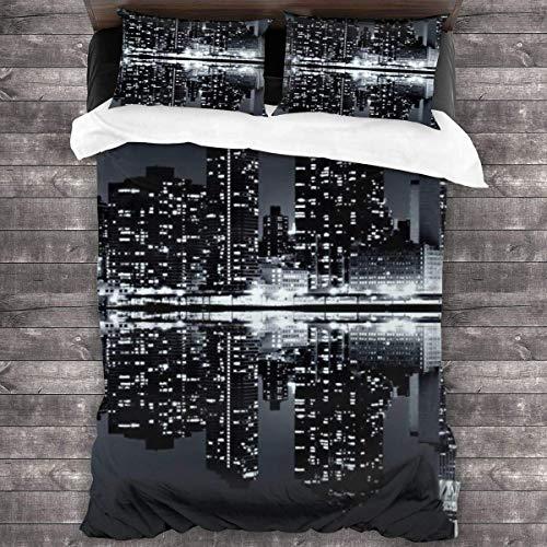 Quintion Cooper New York Skyline - Juego de cama de 3 piezas con 2 fundas de almohada con cierre de cremallera